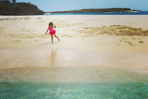 Young ballerina on beach in Abaco