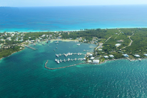 The harbour in Great Guana Cay
